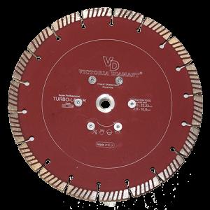 Купить профессиональный алмазный отрезной круг Turbo-Laser D230 с фланцем M14 Victoria Diamant